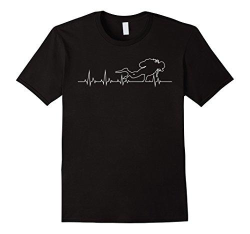 [Men's Scuba Diver Heartbeat T-Shirt  XL Black] (Scuba Diver Costumes)