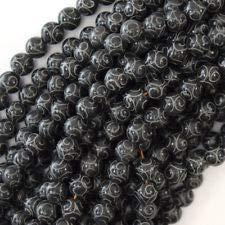 Black Jade Carved Round Beads Gemstone 15