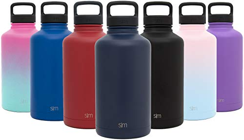 (Simple Modern 40 oz Summit Water Bottle - Stainless Steel Liter Flask +2 Lids - Wide Mouth Tumbler Double Wall Vacuum Insulated Navy Leakproof -Deep Ocean)