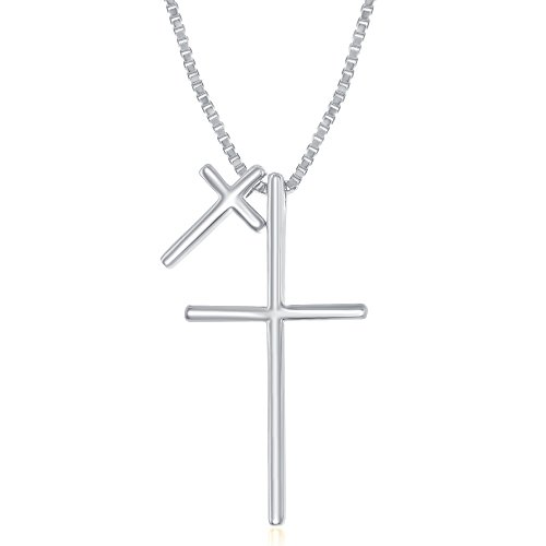 Sterling Silver High Polish Double Cross 16+2