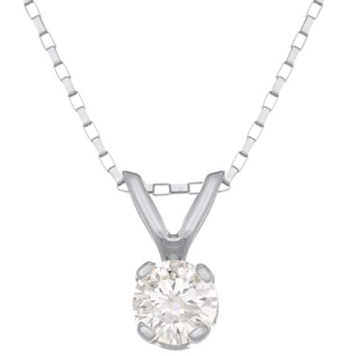 (Lavari - .20 cttw Round Solitaire Diamond Pendant 14K White Gold)