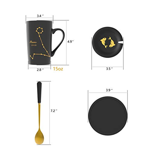 Fullcci-15oz Creative Constellation Pisces Coffee Mug Set Capacity Upgrade Tea Cup For Cocoa Water Milk Juice (Pisces-Black)