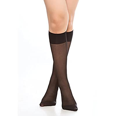 Women's 6 Pack Silky Sheer Knee High Trouser Socks Reinforced Toe at Women's Clothing store