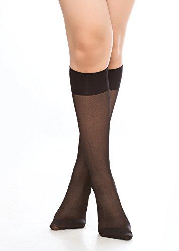 2d286ac27 Women s 6 Pack Silky Sheer Knee High trouser socks reinforced toe(black)
