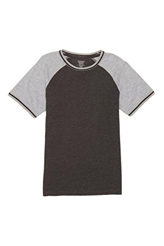 French Toast Little Boys' Short Sleeve Tipped Baseball Tee, Charcoal Heather Gray Single Dye, 6