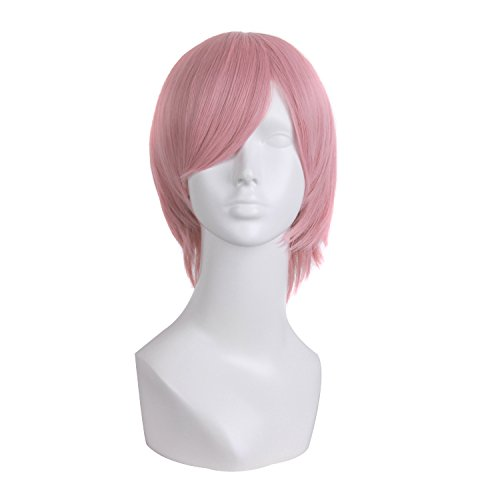 MapofBeauty Mens Short Straight Wig Cosplay Costume Wig (Pink)