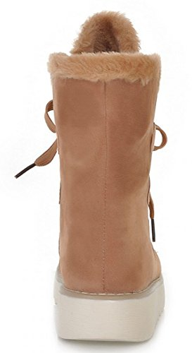 Idifu Womens Warme Winter Bont Gevoerd Lace-up Platte Sneeuw Enkellaarsjes Kameel