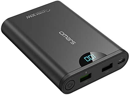 Portable Charger Battery Pack 3-Port USB-C PD 30W Power Delivery Fast Charge Portable Power Bank Compatible with iPhone Xs/XR/XS Max/X, iPad, Galaxy S9 / Note 9