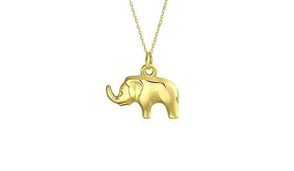 14k Yellow Gold High Polished 3D Good Luck Elephant Charm Pendant 4.3 grams