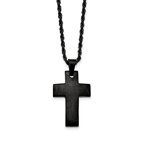 (Chisel Black Plated Stainless Steel Brushed Cross Necklace, 20 Inch)