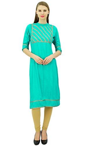 Bimba para mujer Rayón Diseñador Detalle de la túnica del cordón del yugo Kurtis blusa de la tapa recta Mar verde
