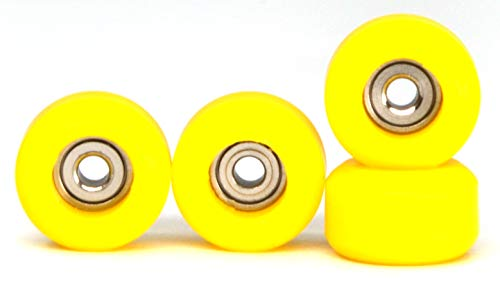 Teak Tuning Fingerboard Bearing Wheels, Polyurethane, 100D Durometer, Yellow, Set of 4 (Fingerboard Wheels)