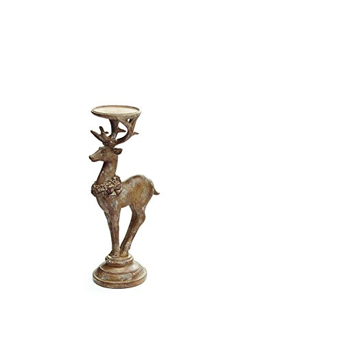 (Antique Finish Christmas Reindeer Candle Holders - Deer Tabletop Holiday Decoration)