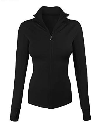 makeitmint Women's Comfy Zip Up Stretchy Work Out Track Jacket w/ Back Pocket SMALL YJZ0002_02BLACK