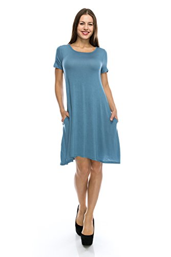 NELLY Cute Tunic Shirt Dress Blue Flowy Short Sleeve Top w/ Pockets - 1X (Plus Size Fairy Dress)
