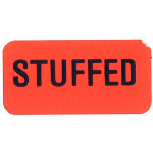 Specialty Printing Stuffed Grabber Label Dayglo Red with Black Print, 1.375'' x 3/4''   1000/Roll