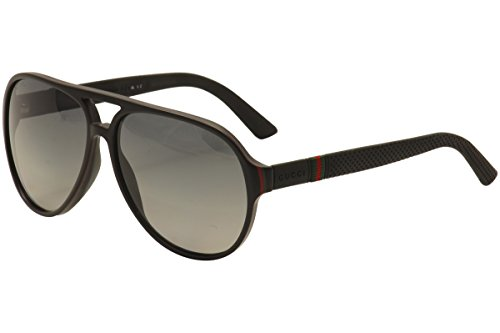 Gucci Sunglasses - 1065 / Frame: Black Red Green Lens: Gradient Shaded - Black Aviators Gucci