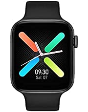 FT50 Smart Watch 1.54 Inch Full Touch Screen Bluetooth Call Push Notifications Size 44 MM With Detachable Silicone Band For IOS & Android - Black