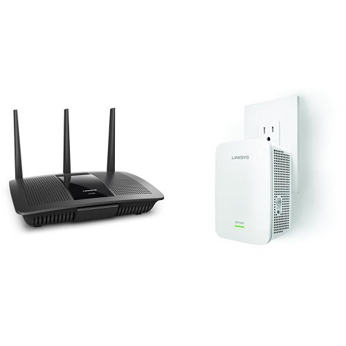Linksys AC1750 Dual-Band Smart Wireless Router with MU-MIMO (Max Stream EA7300) with Linksys AC1900 Gigabit Range Extender Bundle by Linksys