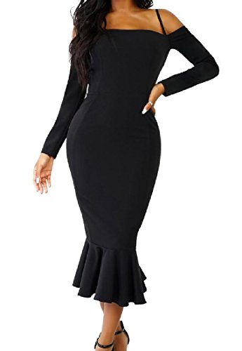 Dress Solid Off Ruffled Length Mid Shoulder Black Comfy Bodycon Sexy Womens wqgxFgzOR