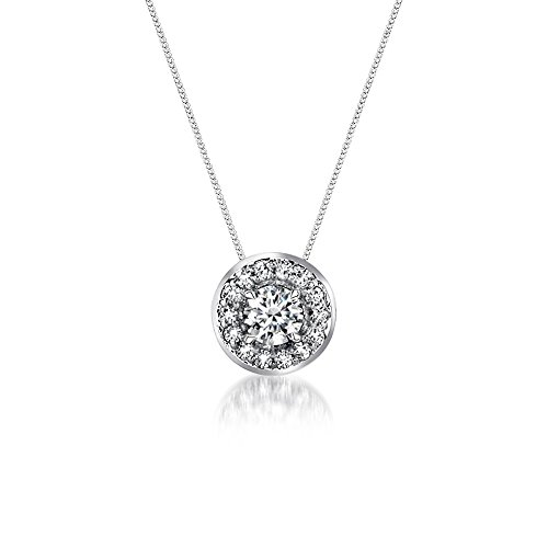 (Voss+Agin .25CTW Genuine Diamond Halo Pendant and Necklace in 14K White Gold, 18'')