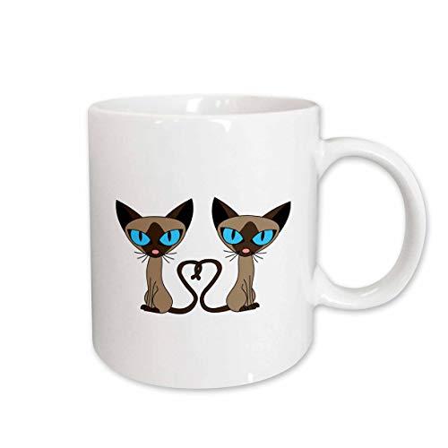3dRose 110726_1 Siamese Cat Tail Heart Ceramic mug, 11 oz, White