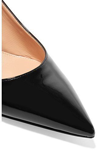 Eldof Womens Patent Leather Pointed Toe Slingback Ankle Strap Kitten Heels Pumps Evening Stiletto Shoes/6.5cm Black vkr3a