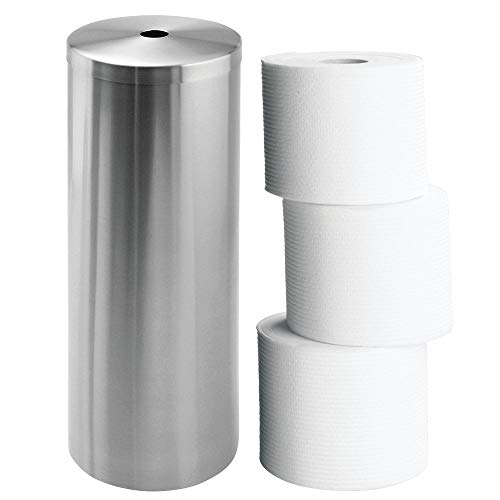 InterDesign Forma Metal Toilet Paper Tissue Roll Reserve Canister Organizer for Master, Guest, Kid