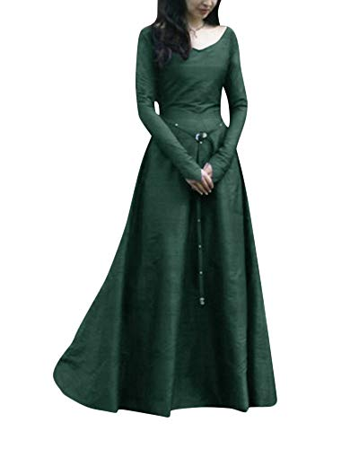Donne Maxi Abito PengGengA Abiti Costume Medievale Cosplay Dress Verde Fancy Odqwpd0R