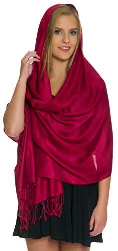Pashmina Shawls and Wraps - Large Scarfs for Women - Party Bridal Long Fashion Shawl Wrap with Fringe Petal Rose Burgundy