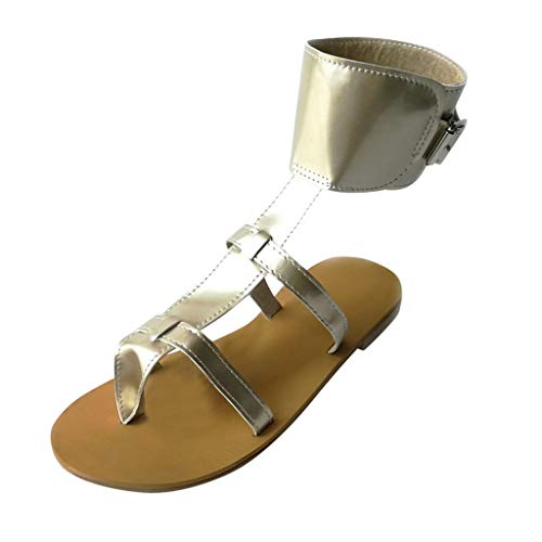 Benficial Women's Summer Ankle Buckle Open Toe Platform-Bottom Sandals Casual Shoes 2019 Summer New Gold