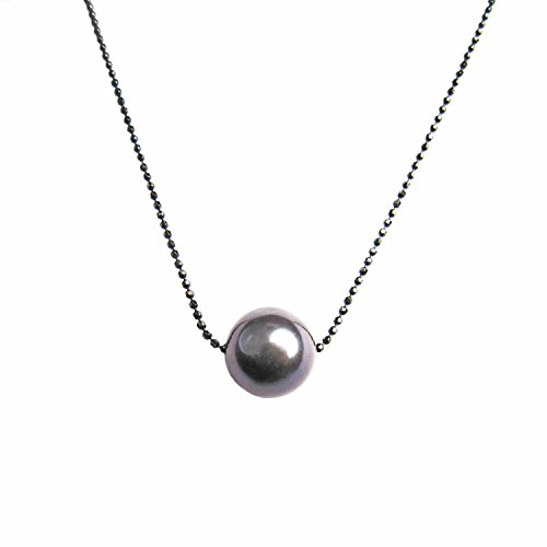 Regalia Pearls by Ulti Floating Single Freshwater Cultured Pearl Necklace .925 Sterling Silver Assembled in The U.S.A. (Black) ()