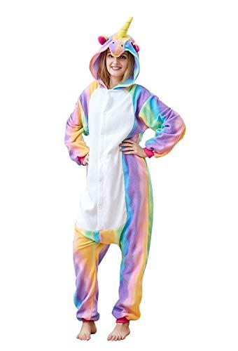 Cousinpjs Adults Onesie Rainbow Unicorn Cosplay Costume Sleepwear Halloween Costumes -