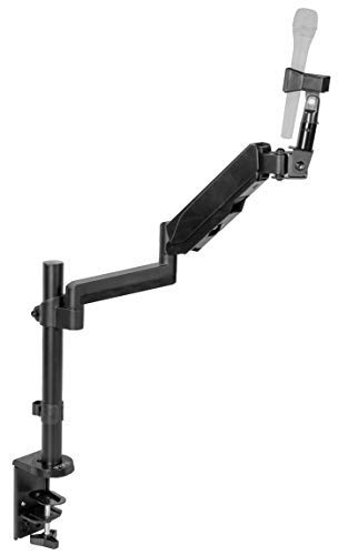 (VIVO Black Height Adjustable Pneumatic Spring Microphone Counterbalance Arm Mount | Compact Mic Stand with Mounting Clamp)