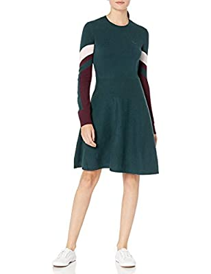 Lacoste Womens Long Sleeve Argyle Colorblock Dress