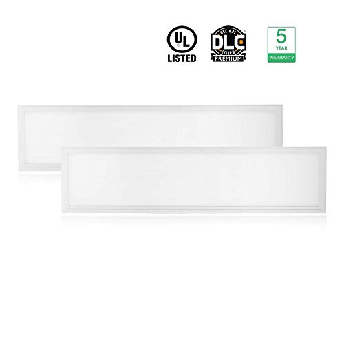 Cortelco LED Troffer Drop Ceiling Flat Panel Light 1x4FT, Dimmable 0-10V Edge-Lit Light Fixture, 36W, 4680Lumens, 5000K, DLC&UL Listed, 2 Pack