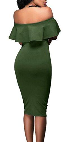 Discoteca Spalla Womens Cromoncent Increspature Sexy Lungo Matita Verde Militare Abito Della Fodero Fuori Partito SpHtqU