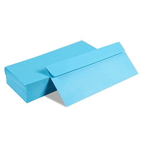 100 Pack #10 Blue Business Envelopes - Value Pack Square Flap Envelopes - 4 1/8 x 9 1/2 Inches - 100 Count, Blue