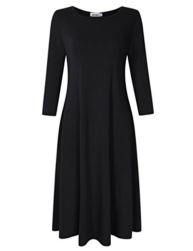 MISSKY Women Short Sleeve and 3/4 Long Sleeve Round Neck Pocket Loose Casual Summer Midi Dress