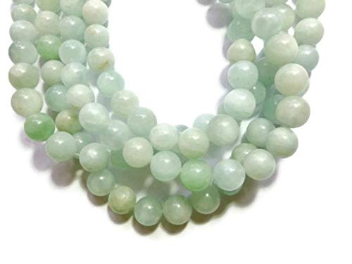 (Design Ideas - Amazonite - 12mm Round Bead - 32 Beads - Full Strand - Aqua - Pastel - Shades of Pale Green and Pale Blue Stone - Unique Selection Beads)