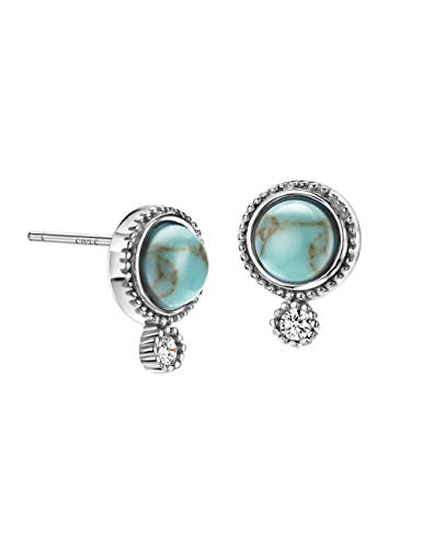(Turquoise Stud Earrings Sterling Silver Round Cut with Diamond Fine Jewelry for)