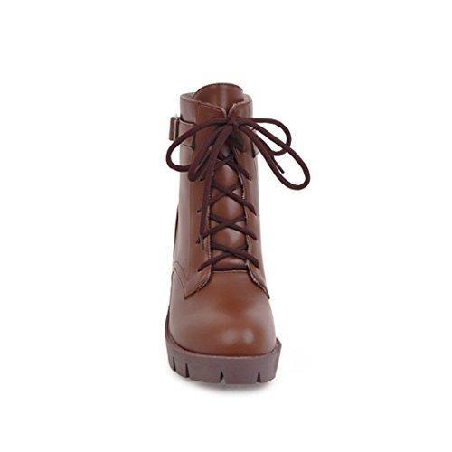 inverno Martin autunno grassetto testa ZQ X Stivali con fibbia elegante Brown di femmina tonda con In Stivali cinghie in e FZqXxXwz
