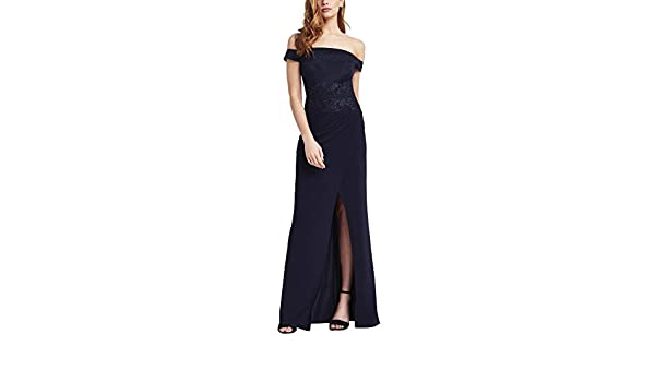 Lipsy Womens Applique Detail Bardot Maxi Dress Wrap Plunge Backless Regular Fit at Amazon Womens Clothing store: