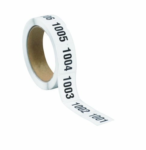 Tape Logic DL1243 Consecutive Number Label, Legend''1001 to 1500'', 1-1/2'' Length x 1'' Width, Black on White (Roll of 500) by Tape Logic
