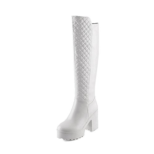 Heels Zipper Women's High Solid PU High top Allhqfashion White Boots qtZ1Rxw