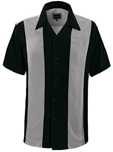 Guytalk Mens Button Down Bowling Shirt, Cuban Style Retro Two Ton Camp Shirt Gray -