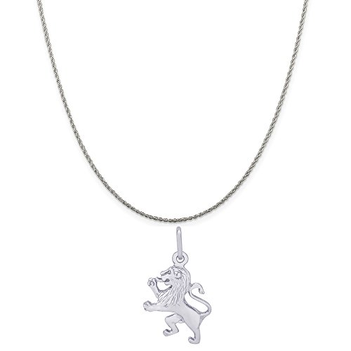 (Rembrandt Charms 14K White Gold Ramped Lion Charm on a 14K White Gold Rope Chain Necklace, 16