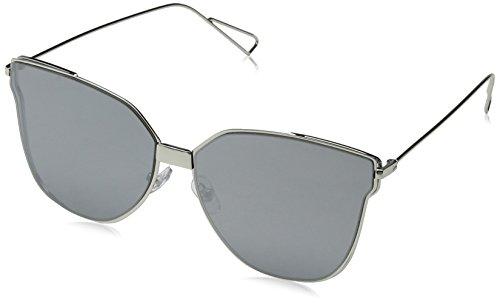 Silver Plateado Cat para Gafas Eye Beach South de Sunglasses Flat Lens 55 Mujer Sol Zw75xWqR