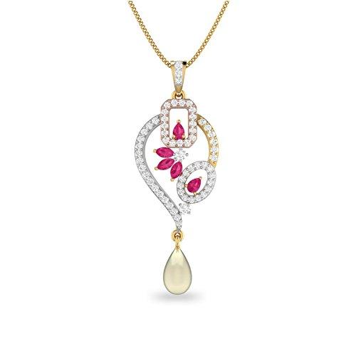 PC Jeweller The Mairona 18KT Yellow Gold, Diamond   Gemstone Pendant