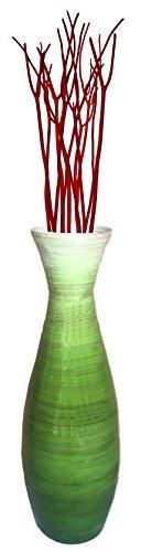 "24"" Tall Bamboo Floor Vase, Glossy Green"